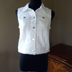 Chico's Platinum Jean Sequin Vest